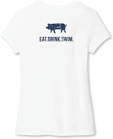 EAT.DRINK.SWIM. Tee: Women's White