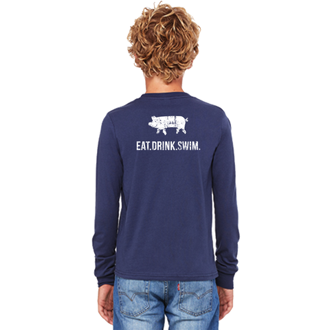 EAT.DRINK.SWIM. Tee: Kid's Long Sleeve Navy
