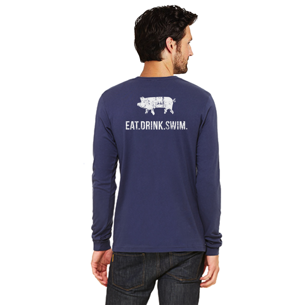 EAT.DRINK.SWIM. Tee: Men's Long Sleeve Navy