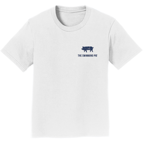 I SWAM WITH PIGS Tee: Kid's White
