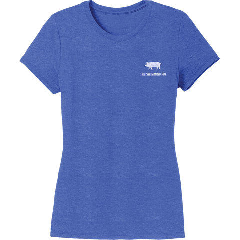 The Swimming Pig® Tee: Women's Royal Frost