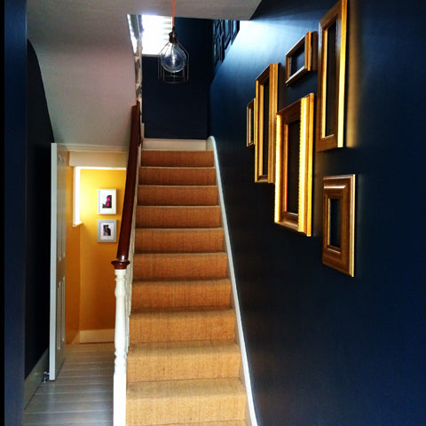 Hallway in Hague Blue and Cherished Gold