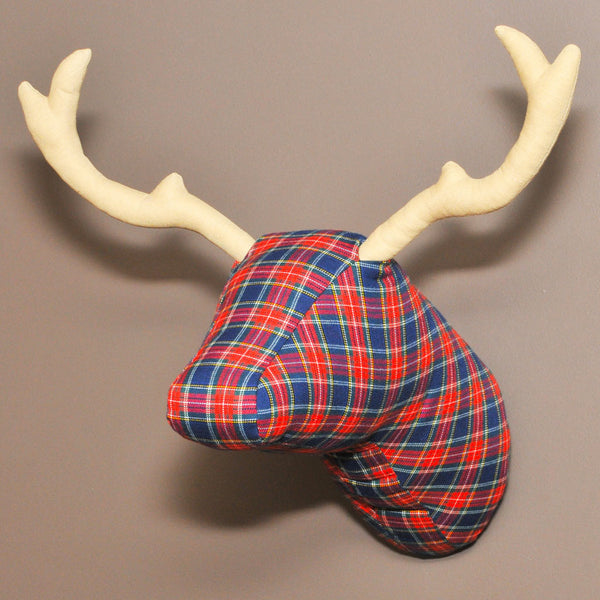 Soft Deer Head - Red Tartan