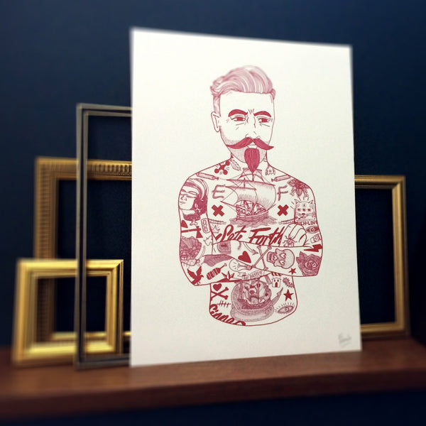 Tat Man Illustrated Print