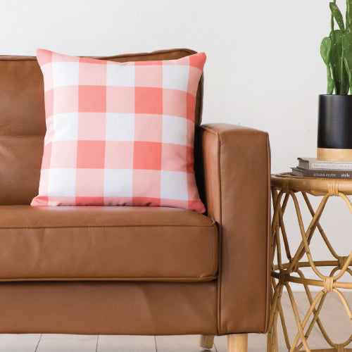 Coral Gingham Indoor/Outdoor Pillow