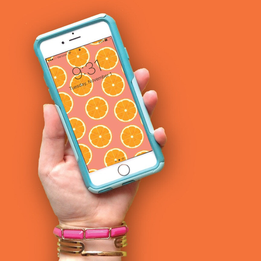 Fruity Orange Pattern Tech Wallpaper - FREE Digital Download