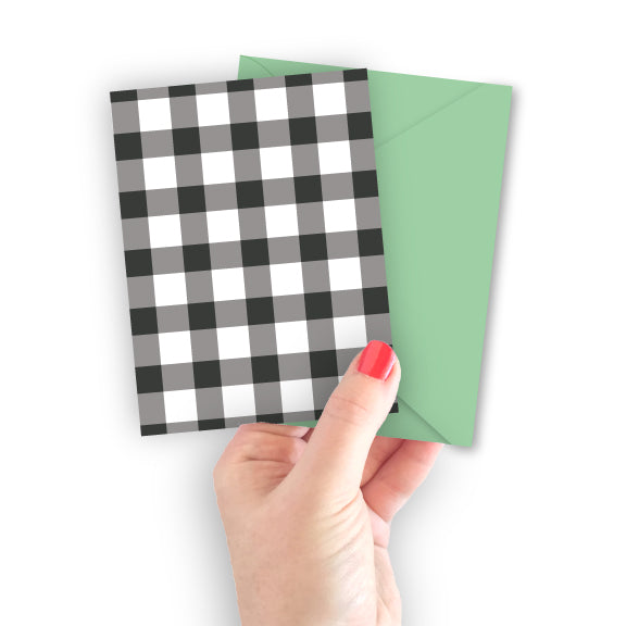 Gray Gingham Card