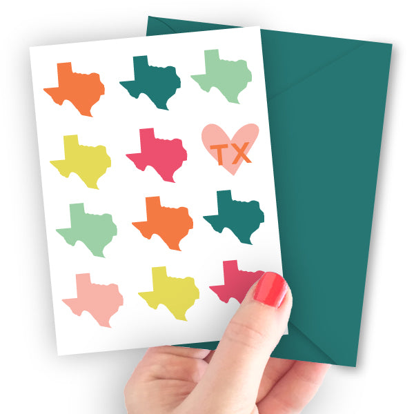 Texas State Silhouette Note Card