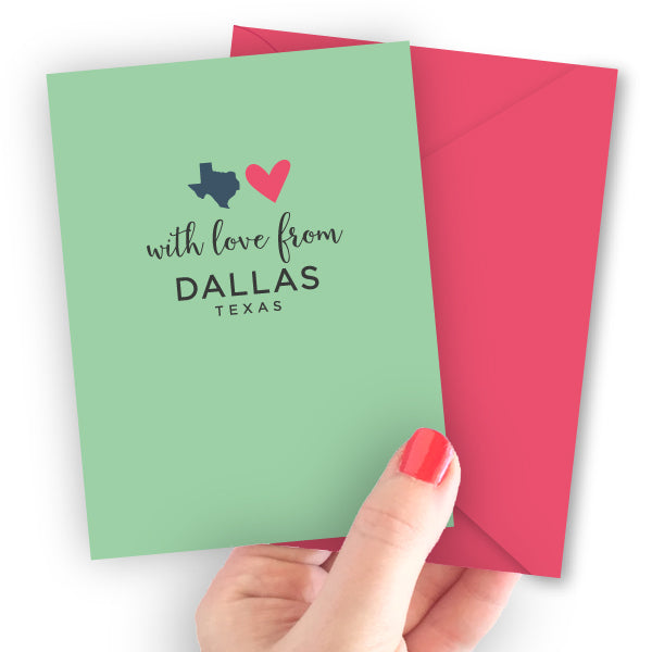 With Love from Texas Cities Note Card (Austin, Houston, etc.)