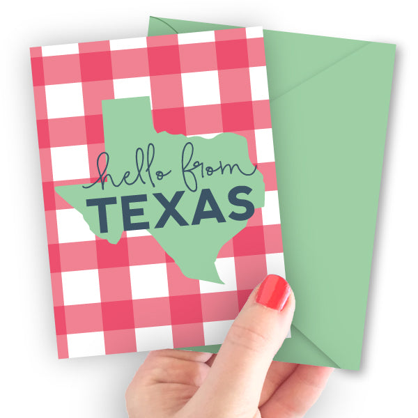 Hello from Texas Pink Gingham Note Card