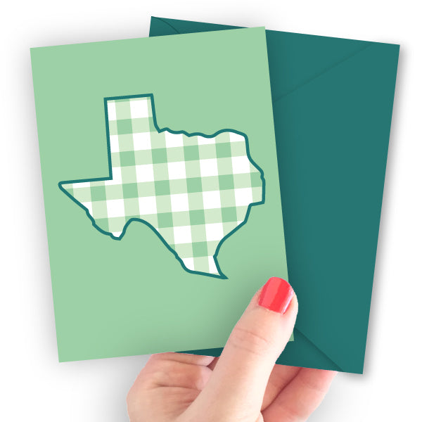 Texas State Gingham Note Card