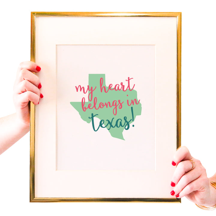 My Heart Belongs in Texas Wall Art