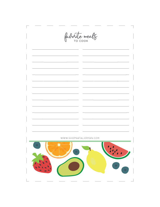Favorite Meals to Cook List - FREE Printable Download