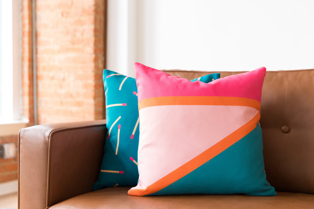Diagonal Color Block Indoor/Outdoor Pillow