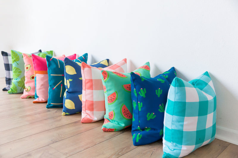 Turquoise Gingham Indoor/Outdoor Pillow
