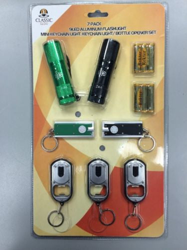 Pack of 7, 9 LED Aluminum Flashlight, Mini Keychain Light, Bottle Opener Set