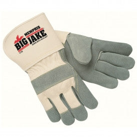 "(12 Pairs) Memphis Big Jake Leather Palm Gloves - 4.5"" Guantlet Cuffs"