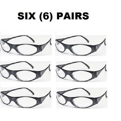 01fc3683fd98 6 SIX PAIRS MCR Crews Frostbite® Safety Glasses GLOSS BLACK FR CLEAR LENS  FB110C