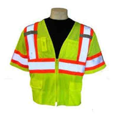 SURVEYOR'S SAFETY VEST CLASS 3 LIME MESH REFLECTIVE SIZE LARGE  ITEM GLO-127