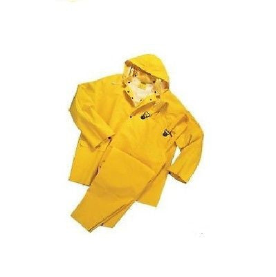 3 PIECE HEAVY DUTY YELLOW RAINSUIT RAIN SUGIT 35MM SIZE LARGE NEW IN BAG