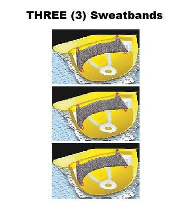 (3) Hard Hat Sweatbands. Clip On Gray. One Size