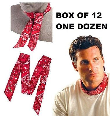 ONE DOZEN (12) ORIGINAL MIRACOOL COOLING NECK HEAD BANDANAS 940 COWBOY RED NEW!