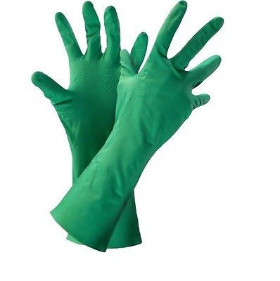 "(12 Pairs) Unsupported 13"" Nitrile Green Flock-Lined Gloves"