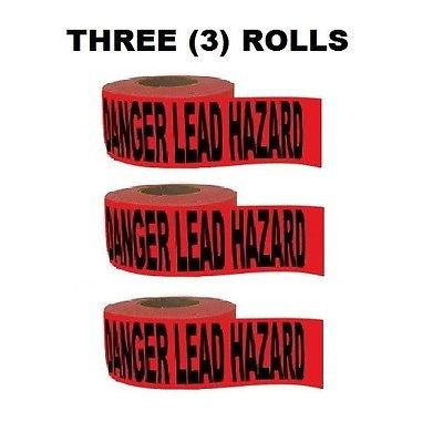 "(3) 1000ft Rolls ""DANGER LEAD HAZARD"" Barricade Tape (3000 Total Feet)"