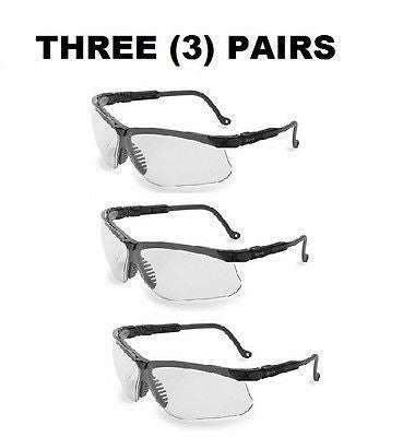 (3) Uvex Safety Glasses, Anti-Fog, Clear Lens