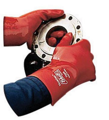 1 Pair SHOWA Best Hustler Chemical Resistant 725R-10 Red PVC/Nitrile Gloves 12""