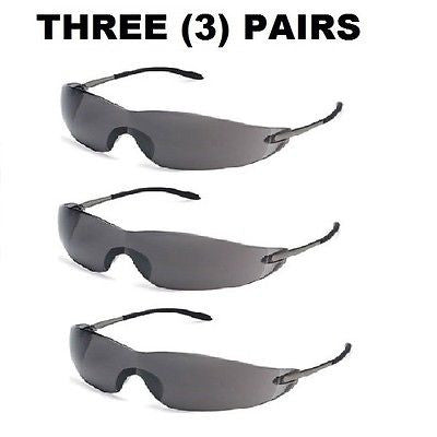 (3) MCR Crews Blackjack® Safety Glasses, Gray Anti-Fog Lens