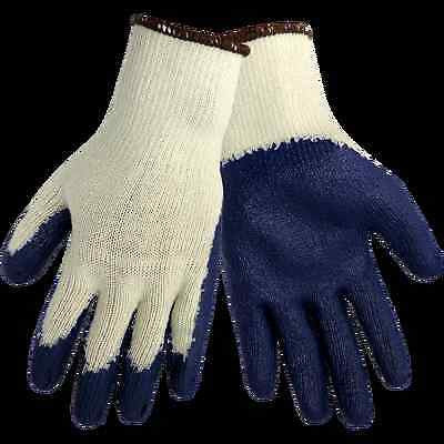 10 Pairs String Knit BLUE LATEX RUBBER COATED PALM Work Safety Gloves LARGE NEW!