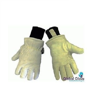 (12 Pairs) Split Goatskin Leather Gloves w/ Thinsulate Insulation (XL)