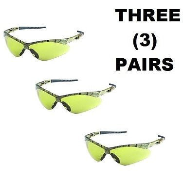 (3) V30 Nemesis Safety Glasses, Amber Anti-Fog Lenses w/ Camo Frame