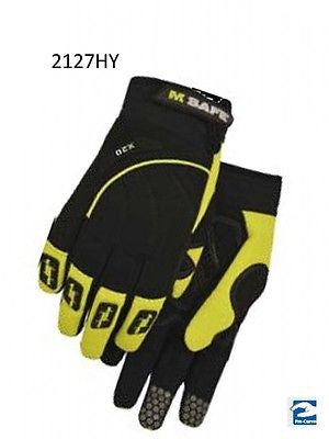 ARMOR SKIN Hi-Viz Synthetic Leather, Velcro Touch Screen Safety Gloves NEW! NICE