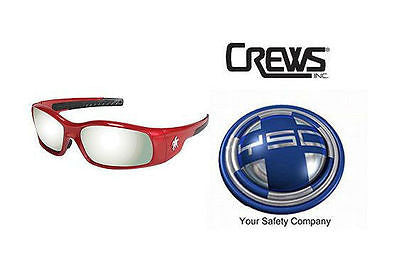 1 Pair Crews SR137 MCR Swagger Safety Glasses RED FRAME Silver Mirror Lens NEW!