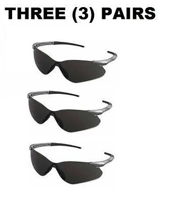 (3) V30 Nemesis VL Safety Glasses, Smoke Lenses w/ Gun Metal Temples