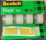 "3M Scotch CLEAR Magic Tape 3105B-TG-15 / 99843 3/4"" x 300"" per Roll NEW 4-PACK"