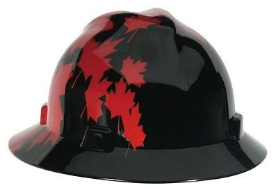 MSA FULL BRIM Hard Hat Canadian Black w/ Red Maple Leaf CSA Z94.1-2005 ANSI Z89