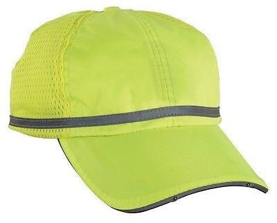 GloWear® PowerCap™ High Viz Lime Silver Reflective with LED Lights Blank NEW!