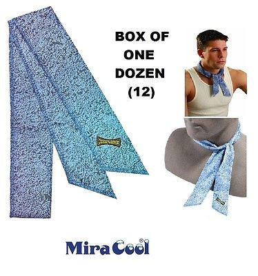 ONE DOZEN (12) ORIGINAL MIRACOOL COOLING NECK HEAD BANDANAS 940 DENIM BLUE NEW!