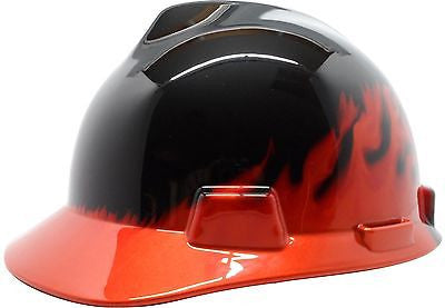 MSA Decorative V-Gard Cap Hard Hat Ratchet Suspension-Black Fire NEW 10092015