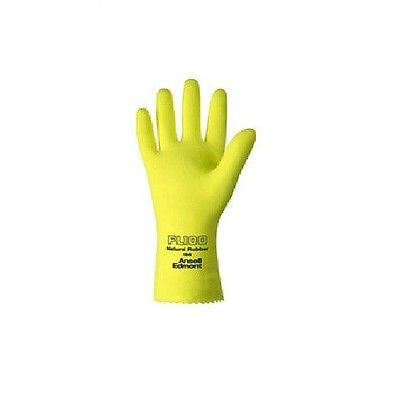 "(12 Pairs) Natural Rubber Flock-Lined 12"" Latex Gloves (L)"