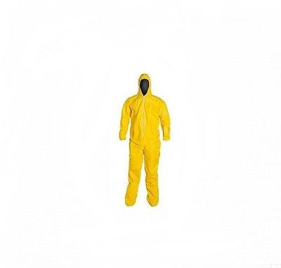 KostaGuard Protective Yellow Chemical Hazmat Coverall Suit W/ Hood & Boot Covers