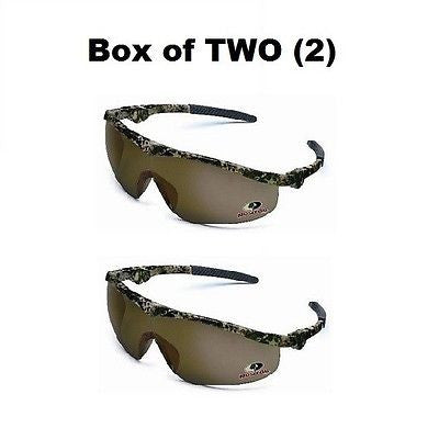 BOX OF (2) TWO Storm Safety Glasses Mossy Oak Frame Brown Lens  MO11B NEW!