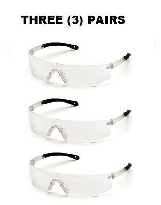 THREE (3) PAIRS PYRAMEX High Impact Lightweight Safety Glasses Clear S7210s NEW