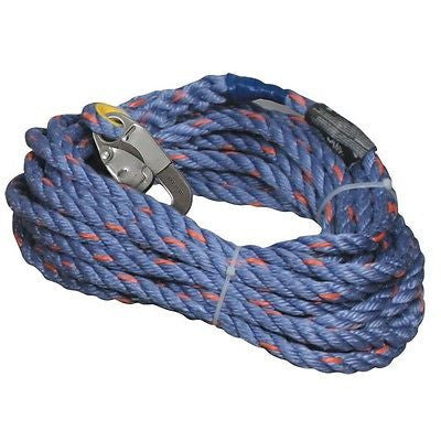 "Sperian 5/8"" X 50' Blue Polyester/Polypro Blend Rope Lifeline w/Locking snap NEW"