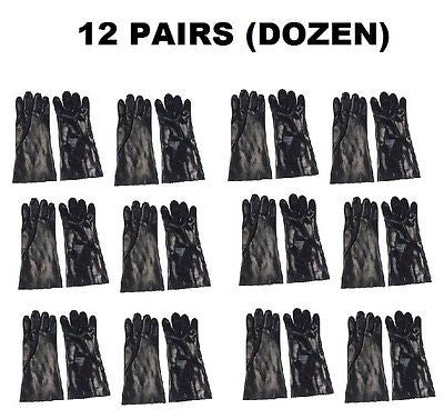 12 Pairs (Dozen) MENS BLACK PVC WORK GLOVES *NEW* PC1080-BLK-12/612S