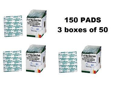 "150 (3 boxes of 50) Non-Stick Adhesive Gauze Pads Size 3"" x 4""-I261F"