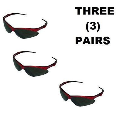 3 THREE PAIRS Jackson™ V30 Nemesis Safety Glasses RED FRAME SMOKE LENS 22611